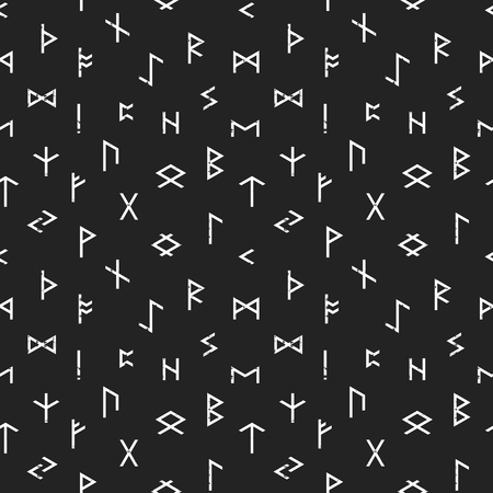 futhark: Abstract seamless grunge pattern of Elder Futhark runes on black background. Design element for background, textile, paper packaging, wrapping paper and other. Vector illustration.
