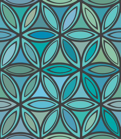 Abstract seamless blue and green floral pattern. Design element for banner, card, invitation, postcard, textile, fabric, wrapping paper, paper packaging. Vector illustration
