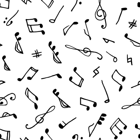 semiquaver: Monochrome seamless music pattern in doodle style on white background. Hand drawn musical theme with clef and note for background, textile, paper packaging, wrapping paper. Vector illustration.