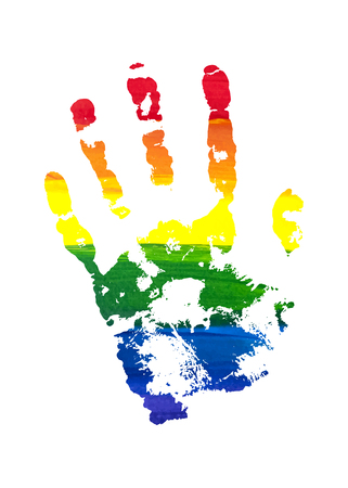 gay men: Human grunge rainbow gouache handprint with skin texture isolated on white background. LGBT watercolor sticker. The left palm. Vector illustration. Illustration