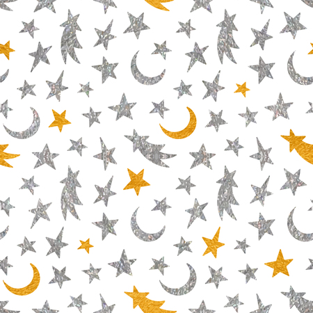 childish: Gold and silver textured cosmic seamless pattern of the star, moon and comet on white background. Design element for background, textile, paper packaging, wrapping paper and other. Vector illustration