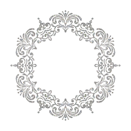 whorl: Elegant luxury vintage circle silver floral frame on white background. Refined hand drawn border template for greeting card, postcard, invitation, banner, flyer, poster. Vector illustration.