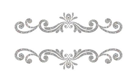 vignette: Elegant luxury vintage silver floral hand drawn decorative border or frame on white background. Refined vignette element for banner, invitation, menu, postcard, greeting card. Vector illustration.