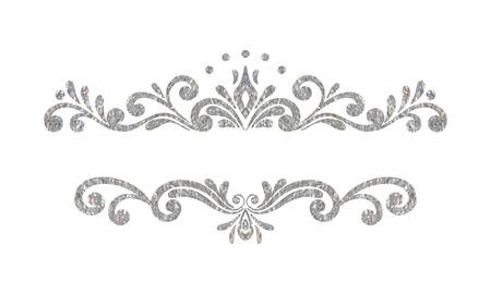 Elegante luxe vintage zilveren bloemen hand getekende decoratieve rand of frame op een witte achtergrond. Geraffineerd vignet element voor banner, uitnodiging, menu, postkaart, wenskaart. Vector illustratie.