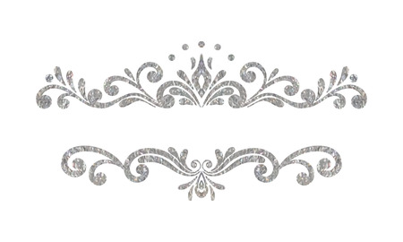 Elegant luxury vintage silver floral hand drawn decorative border or frame on white background. Refined vignette element for banner, invitation, menu, postcard, greeting card. Vector illustration.