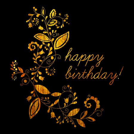 Gold Greeting Happy Birthday Card With Floral Element In Doodle