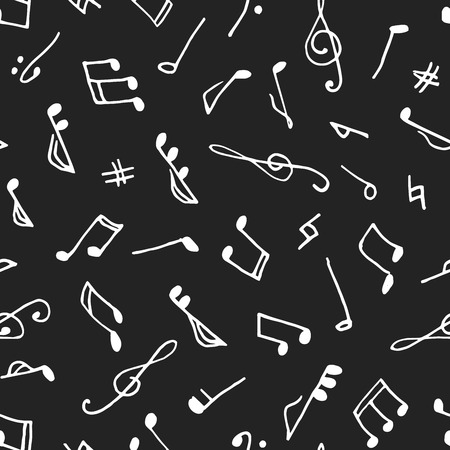 semiquaver: Monochrome seamless music pattern in doodle style on black background. Hand drawn musical theme with clef and note for background, textile, paper packaging, wrapping paper. Vector illustration. Illustration