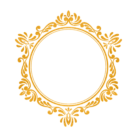 Elegant luxury vintage hexagon gold floral frame on white background. Refined hand drawn border template for greeting card, postcard, invitation, banner, flyer, poster. Vector illustration. Vettoriali