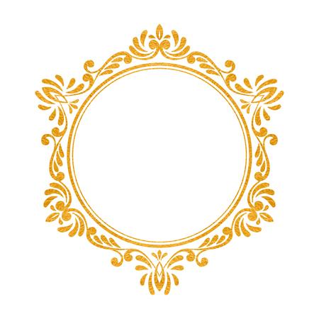 Elegant luxury vintage hexagon gold floral frame on white background. Refined hand drawn border template for greeting card, postcard, invitation, banner, flyer, poster. Vector illustration. Illustration