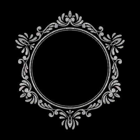 Marco de la vendimia de lujo elegante de plata hexagonal de flores sobre fondo negro. dibujado a mano refinado Modelo de la frontera de la tarjeta de felicitación, tarjetas postales, invitación, bandera, folleto, cartel. Ilustración del vector.