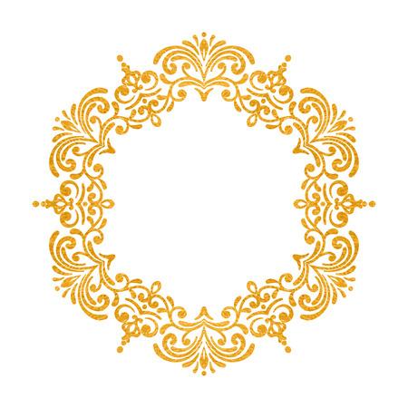 Elegant Luxury Vintage Round Gold Floral Frame On White Background ...