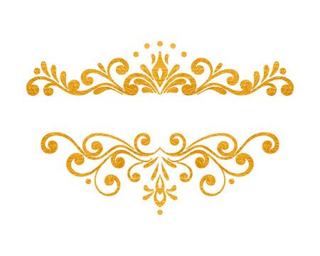 cartoline vittoriane: Elegante lusso oro epoca mano floreale disegnato bordo decorativo o cornice su sfondo bianco. elemento vignetta raffinati per banner, invito, menu, cartolina, biglietto di auguri, flyer. illustrazione di vettore Vettoriali