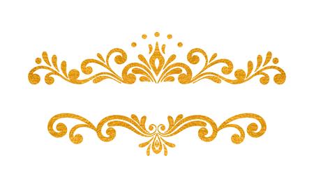 Elegant luxury vintage gold floral hand drawn decorative border or frame on white background. Refined vignette element for banner, invitation, menu, postcard, greeting card, flyer. Vector illustration