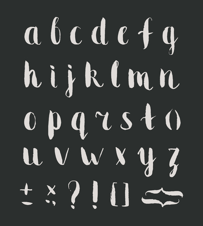 Hand drawn regular bold grunge font with punctuation marks on black background. Font contains question mark, exclamation point, period, comma, dash, hyphen, bracket, parenthesis. Vector illustration. Çizim