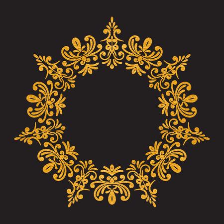 vintage frame floral de luxe élégant d'or ronde sur fond noir.