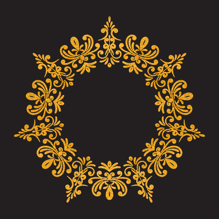 rococo: Elegant luxury vintage round gold floral frame on black background.