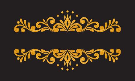 cartoline vittoriane: Elegante lusso oro epoca mano floreale disegnato bordo decorativo o una cornice su sfondo nero Vettoriali
