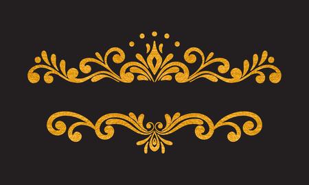 decorative background: Elegant luxury vintage gold floral hand drawn decorative border or frame on black background.