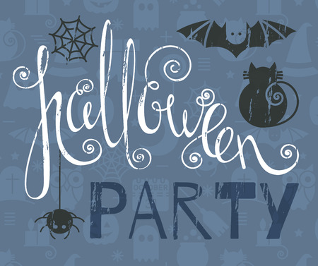 october 31: Halloween party vintage grunge poster with bat, cat and spider. Calligraphic lettering for greeting card, festive invitation, template, banner, postcard, poster, advertisement. Vector illustration.