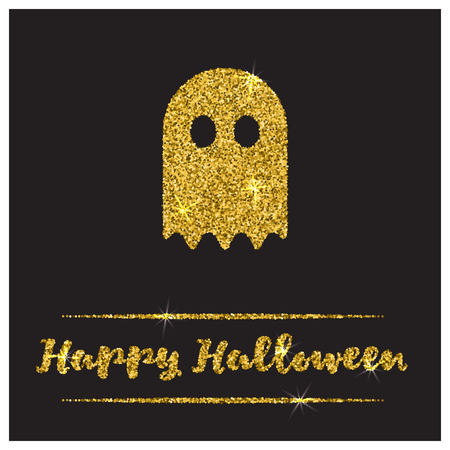 paillette: Halloween gold textured ghost icon on black background. Golden design element for festive banner, greeting and invitation card, flyer, tag, poster, postcard, advertisement. Vector illustration.