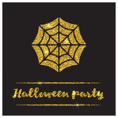 sequin: Halloween gold textured web icon on black background. Golden design element for festive banner, greeting and invitation card, flyer, tag, poster, postcard, advertisement. Vector illustration.
