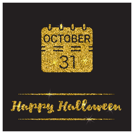 paillette: Halloween gold textured calendar icon on black background. Golden design element for festive banner, greeting and invitation card, flyer, tag, poster, postcard, advertisement. Vector illustration.