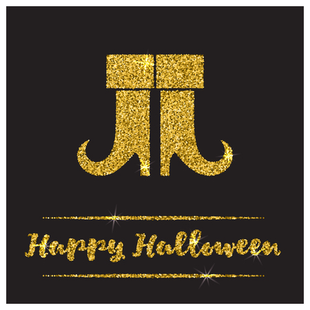 sequin: Halloween gold textured boots icon on black background. Golden design element for festive banner, greeting and invitation card, flyer, tag, poster, postcard, advertisement. Vector illustration.