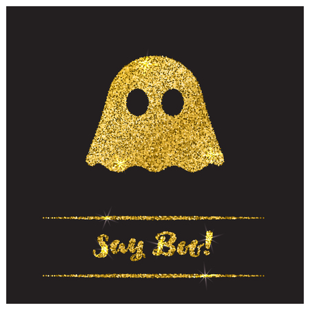 october 31: Halloween gold textured ghost icon on black background. Golden design element for festive banner, greeting and invitation card, flyer, tag, poster, postcard, advertisement. Vector illustration.