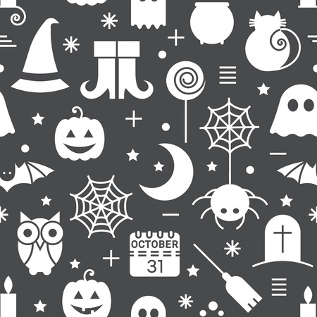 october 31: Seamless Halloween monochrome black and white pattern with festive Halloween icons. Design for wrapping paper, paper packaging, textiles, holiday party invitations, greeting card. Vector illustration.