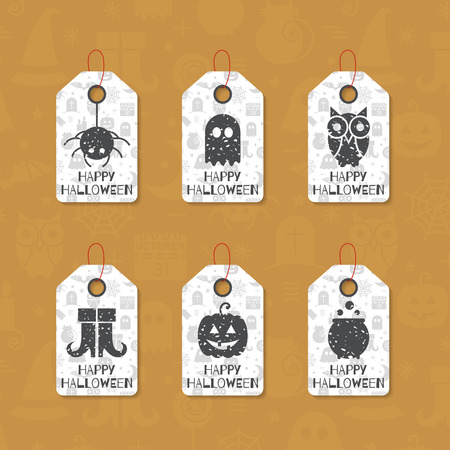 Set of six grunge gift tags for Halloween. Happy Halloween caption. Holiday design template for festive sticker, label, banner, invitation, postcard, card, wrapping and packaging. Vector illustration. Illustration