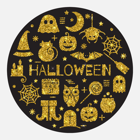 sequin: Halloween gold icons set in circle shape on black background. Golden design concept for festive banner, greeting and invitation card, flyer, tag, poster, postcard, advertisement. Vector illustration.