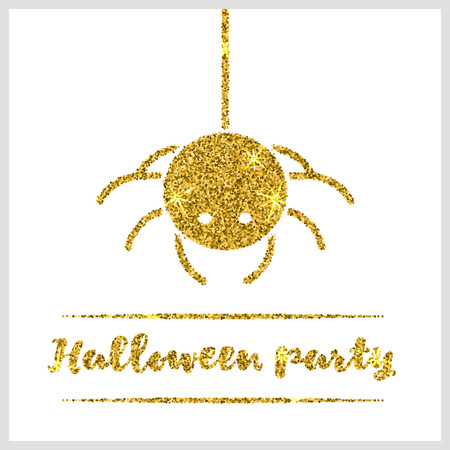 sequin: Halloween gold textured spider icon on white background. Golden design element for festive banner, greeting and invitation card, flyer, tag, poster, postcard, advertisement. Vector illustration.