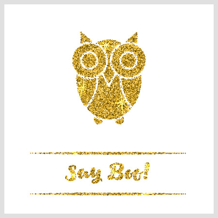 sequin: Halloween gold textured owl icon on white background. Golden design element for festive banner, greeting and invitation card, flyer, tag, poster, postcard, advertisement. Vector illustration.