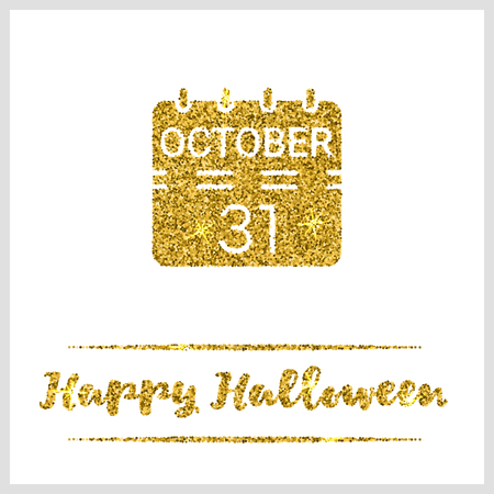 paillette: Halloween gold textured calendar icon on white background. Golden design element for festive banner, greeting and invitation card, flyer, tag, poster, postcard, advertisement. Vector illustration.