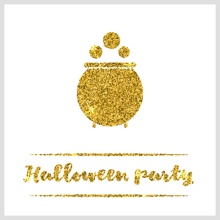 sequin: Halloween gold textured pot icon on white background. Golden design element for festive banner, greeting and invitation card, flyer, tag, poster, postcard, advertisement. Vector illustration.