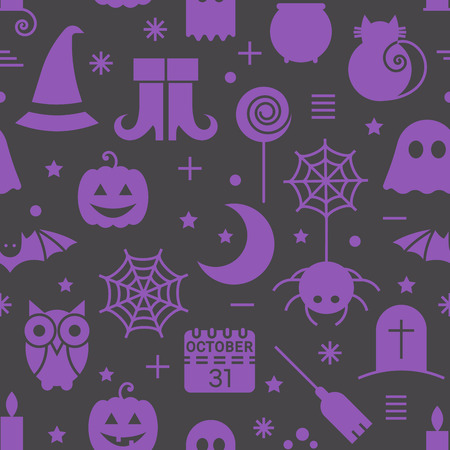 Seamless Halloween colourful violet and black pattern with festive Halloween icons. Design for wrapping paper, paper packaging, textiles, holiday party invitations, greeting card. Vector illustration.