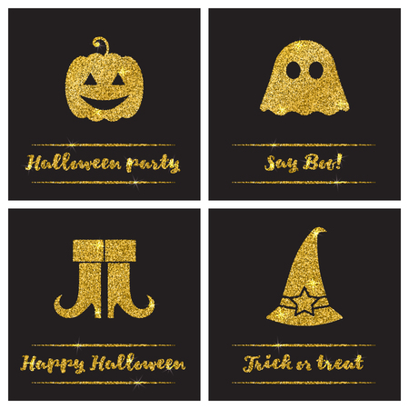 paillette: Set of Halloween gold textured icons on black background. Golden design elements for festive banner, greeting and invitation card, flyer, tag, poster, postcard, advertisement. Vector illustration.