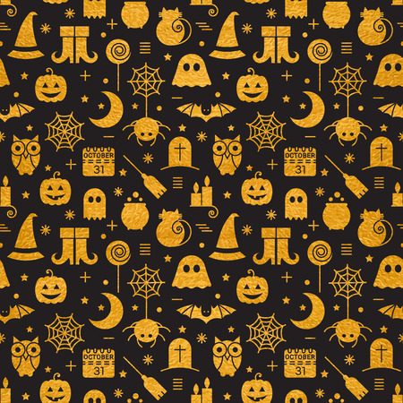 Seamless Halloween gold textured pattern with festive Halloween icons. Golden design for wrapping paper, paper packaging, textiles, holiday party invitations, greeting card. Vector illustration. Vettoriali