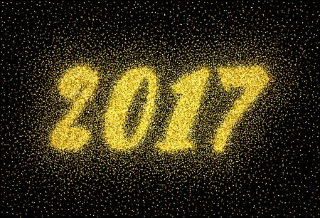 paillette: Glitter gold textured inscription 2017 of golden sprinkled confetti. Numeral golden design element for banner, greeting card, Christmas and New Year card, invitation, postcard. Illustration