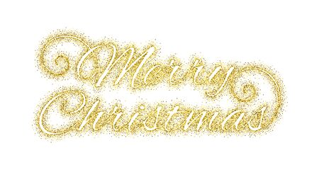 paillette: Glitter gold textured calligraphic inscription Merry Christmas of golden sprinkled confetti.