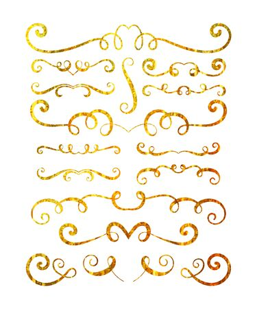 foil: Set of gold textured hand drawn vignettes on white background. Elegant vintage calligraphic borders and dividers for greeting card, retro party, wedding invitation. Vector illustration.
