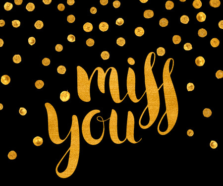Gold textured inscription Miss you