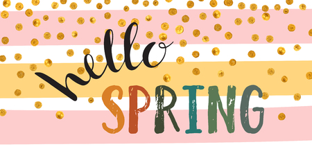 Hello spring inscription. Illustration