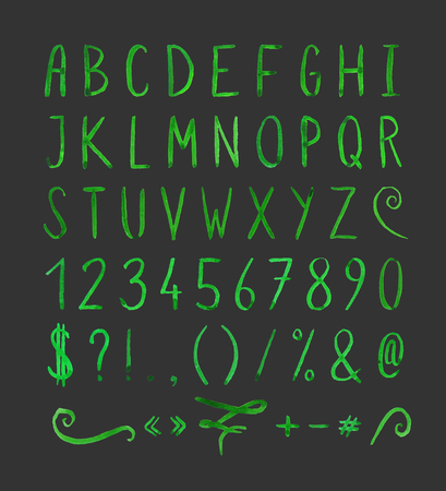 Handwritten font with punctuation marks Çizim