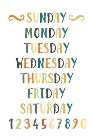 Handwritten grunge colorful days of the week Illustration
