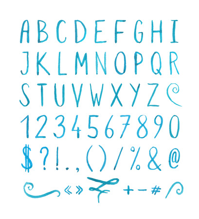 Handwritten font with punctuation marks Illustration