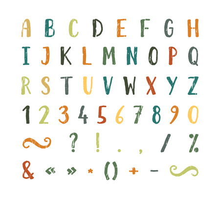 Handwritten font with punctuation marks Vectores
