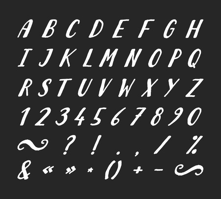 Handwritten italic grunge font with punctuation marks on black background. Uppercase font contains question mark, exclamation point, period, comma, dash, hyphen, bracket etc. Vector illustration.