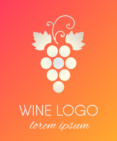 Silver gradient grapes logo. Luxury wine logotype icon. Brand design element for organic wine, wine list, menu, liquor store, selling alcohol, wine company. Vector illustration.