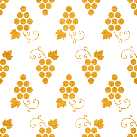 Golden textured seamless pattern of grapes